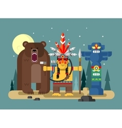 Injun character with bear vector