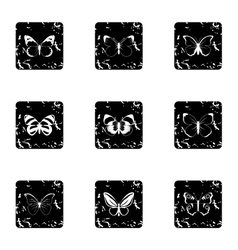 Insects butterflies icons set grunge style vector