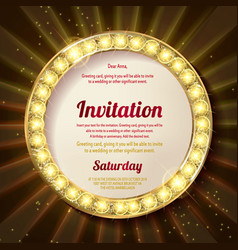 Invitation with a gold decoration original design vector