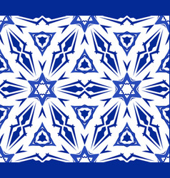 Kaleidoscopic white blue flower ornament vector