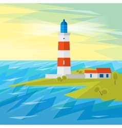 Lighthouse on Sea with Waves vector image