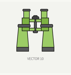 Line flat color military icon army vector