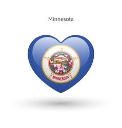 Love minnesota state symbol heart flag icon vector