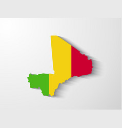 Mali map with shadow effect vector