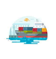 Maritime logistics and transportation vector