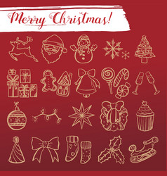 merry xmas sketch icon set vector image vector image