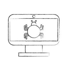 Monitor computer with bug infection virus icon vector