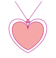 Necklace heart isolated icon vector