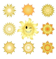 Nine icons of suns vector image