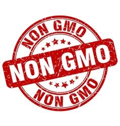 Non gmo red grunge round vintage rubber stamp vector