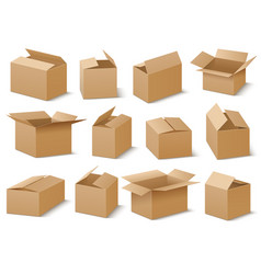 open and closed cardboard boxes set vector image vector image
