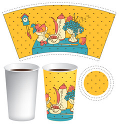 Paper cup for hot drink with doodle still life vector
