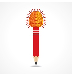 Pencil with brain vector image vector image