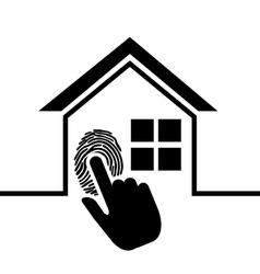Pictogram home security fingerprint vector