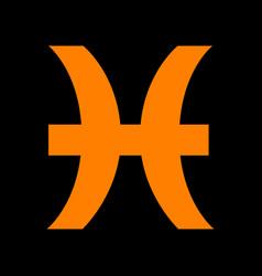 Pisces sign orange icon on black vector