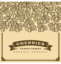 Retro cherry harvest card brown vector image vector image