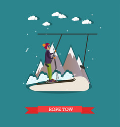 rope tow in flat style vector image