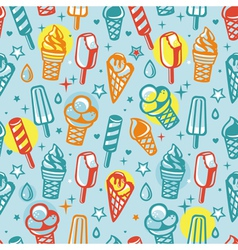 Seamless pattern with cartoon ice cream vector