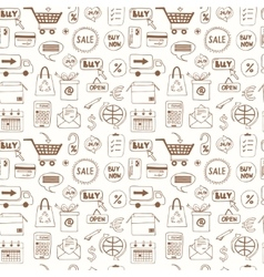 Seamless pattern with doodle sketch shopping icons vector image vector image