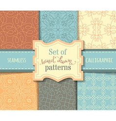 Set of hand-drawn calligraphic seamless patterns vector