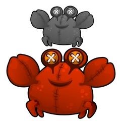 Soft toy fat red crab with eyes buttons vector