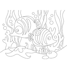 Two cute cartoon fishes under the sea vector image vector image