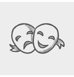 Two mask sketch icon vector image