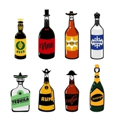 Vintage alcohol Isolated bottle collection Icon vector image