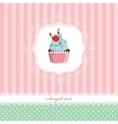 Vintage greeting card template with cupcake vector