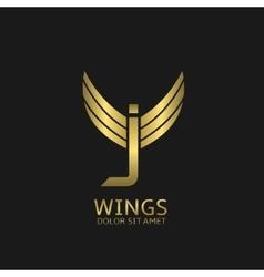 Wings j letter logo vector