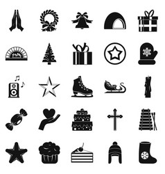 Xmas icons set simple style vector