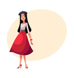 Young french woman dressed in parisian style vector