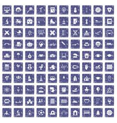 100 kids icons set grunge sapphire vector