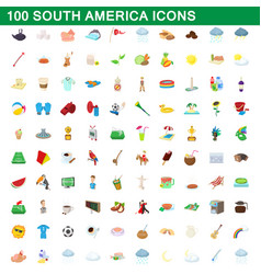 100 south america icons set cartoon style vector