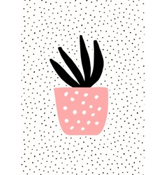 Pink pot with succulent plant vector