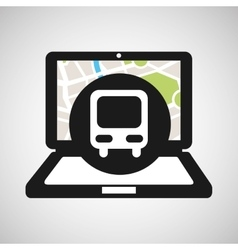 Train laptop map gps vector