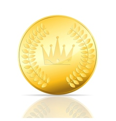 Gold coin on white vector