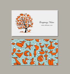 Business card design foxy tree vector