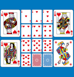 Hearts suite playing cards french style vector