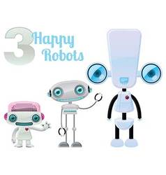 Three happy robots vector