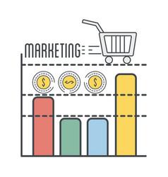 Business statistic plan with shopping car icon vector