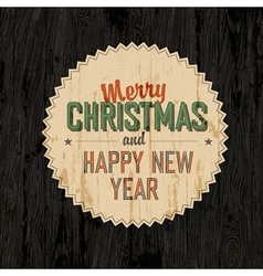 merry xmas design on wooden background vector image