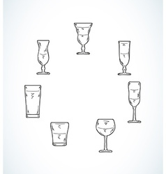 Sketch of glasses for water or alcohol vector