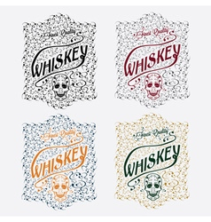 Whiskey labels with skull and flower ornament vector