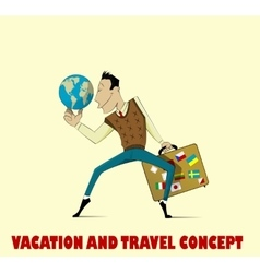 Happy man going to vacation vector