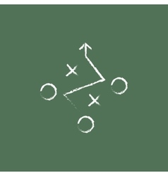 Tactical plan icon drawn in chalk vector