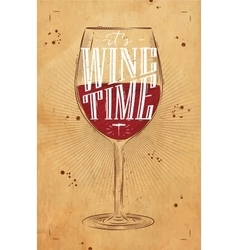 Poster wine time kraft vector