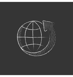 Earth and arrow around drawn in chalk icon vector