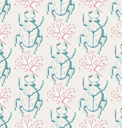 Hand drawn sketch beetles seamless pattern vector