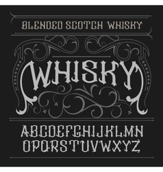 Vintage label font whisky style vector
